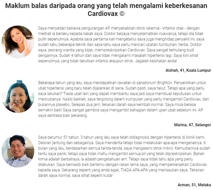 Cardiovax di Malaysia, harga, testimoni pengguna, cara..